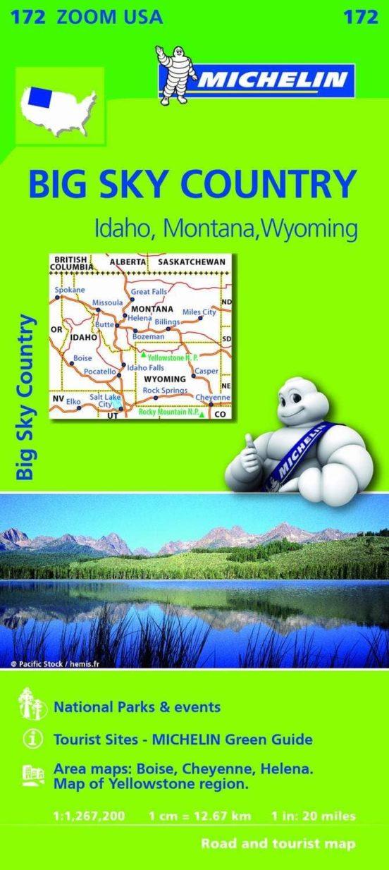 Mapa Zoom USA. Big Sky Country. Idaho, Montana, Wyoming. 1:1.267.200