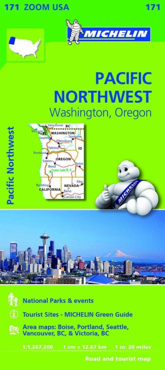 Mapa Zoom USA Pacific Northwest. Washington, Oregon 1:1,267,200