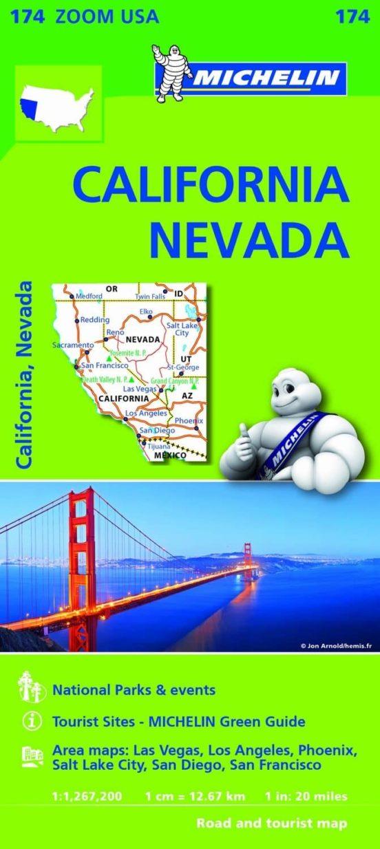 Mapa Zoom USA. California, Nevada. 1:1.267.200