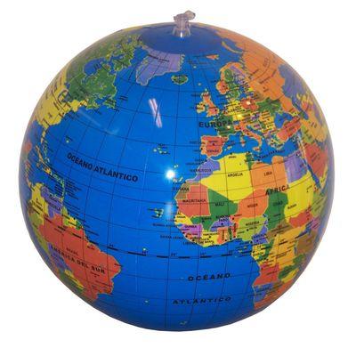 Globo hinchable Mundo 30cm político. Azul Oscuro