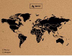 Mapa mural el mundo corcho tamaño L (60 x 45cm), negro