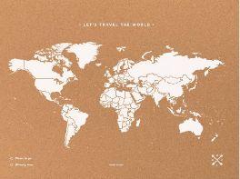 Mapa mural el mundo corcho tamaño XL (60 x 90cm) blanco