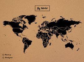 Mapa mural el mundo corcho tamaño XL (60x90 cm) negro