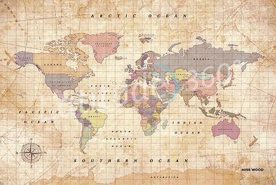 Mapa mural el mundo tamaño XL (60x90 cm) old school