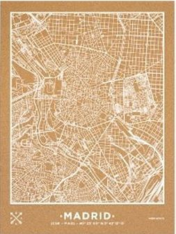 Mapa mural Madrid corcho 45x60cm