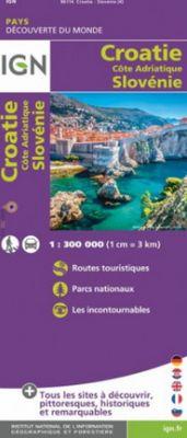 Croatie, Cote Adriatique, Slovenie (Croacia - Eslovenia) 1:300.000