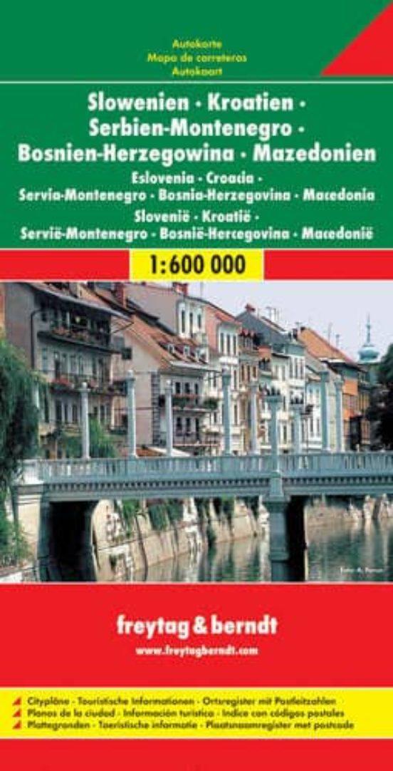 Slovenia, Croatia, Serbia, Bosnia, Montenegro Macedonia (1:600.000)